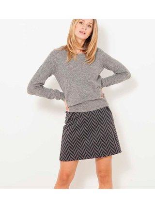 Čierno-šedá vzorovaná sukňa CAMAIEU