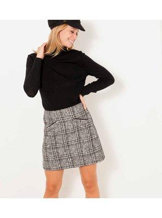 Šedá károvaná sukňa CAMAIEU