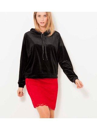 Červená krajková púzdrová sukňa CAMAIEU