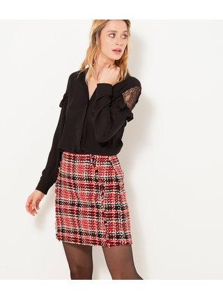 Čierno-červená károvaná sukňa CAMAIEU
