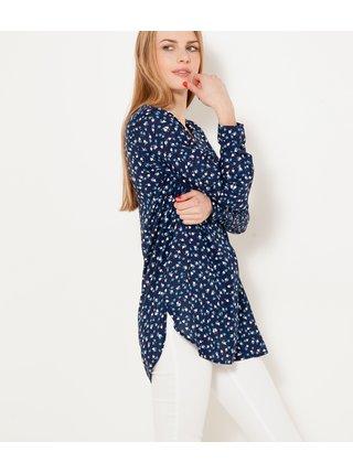 Tmavě modrá dlouhá vzorovaná košile CAMAIEU