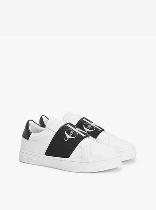 Čierno-biele dámske kožené tenisky Calvin Klein