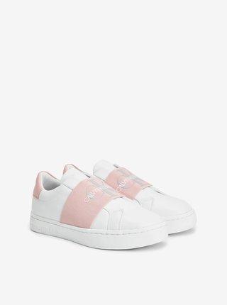 Ružovo-biele dámske kožené tenisky Calvin Klein