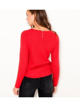 Červený žebrovaný svetr CAMAIEU