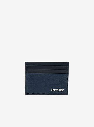Tmavě modré pánské kožené pouzdro na karty Calvin Klein