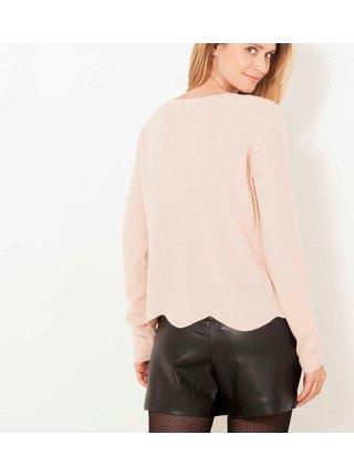 Svetloružový ľahký sveter s korálkami CAMAIEU