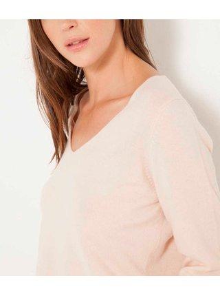 Světle růžový vlněný svetr s příměsí kašmíru a se zapínáním na zádech CAMAIEU