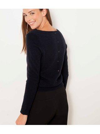 Černý vlněný svetr s příměsí kašmíru a se zapínáním na zádech CAMAIEU