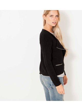 Černý lehký svetr na zip CAMAIEU