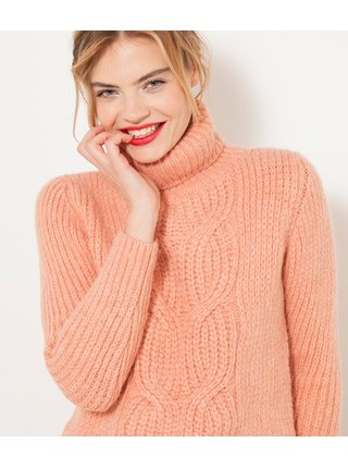 Meruňkový svetr s rolákem s příměsí vlny z alpaky CAMAIEU