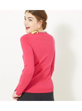 Tmavě růžový lehký svetr CAMAIEU