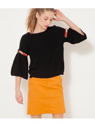 Černý lehký svetr s 3/4 zdobenými rukávy CAMAIEU