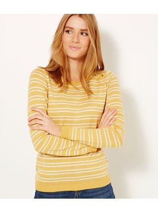Bílo-žlutý pruhovaný lehký svetr CAMAIEU
