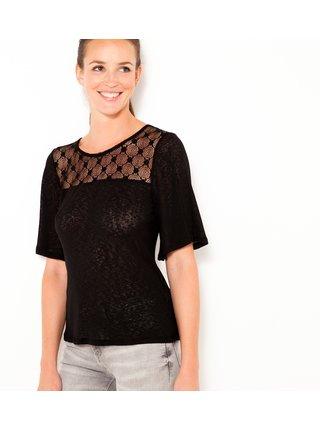 Černé průsvitné tričko s krajkou CAMAIEU
