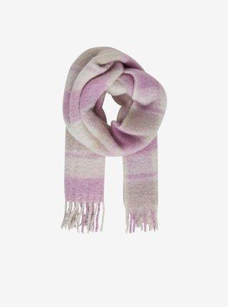 Bielo-ružový dámsky kockovaný šál ICHI