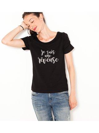 Černé tričko s nápisem CAMAIEU