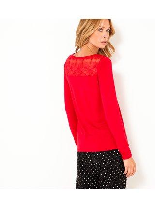Červené tričko s krajkou CAMAIEU