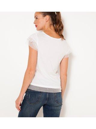 Tričká s krátkym rukávom pre ženy CAMAIEU - biela