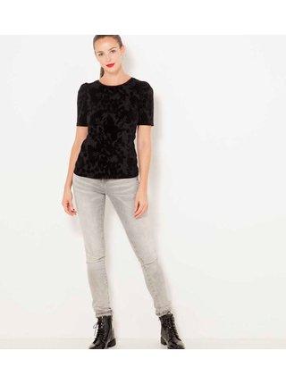 Černé květované tričko CAMAIEU