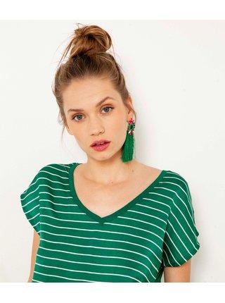 Zelené pruhované tričko CAMAIEU
