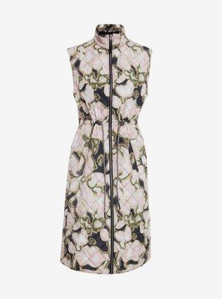 Béžová dámska vzorovaná dlhá vesta ICHI