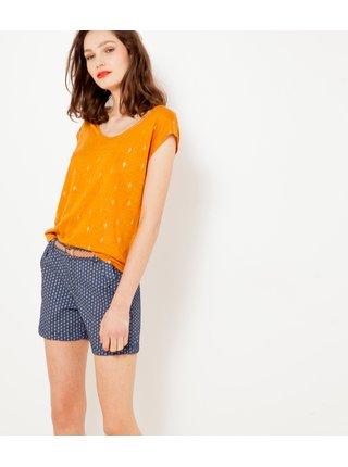Tričká s krátkym rukávom pre ženy CAMAIEU - oranžová