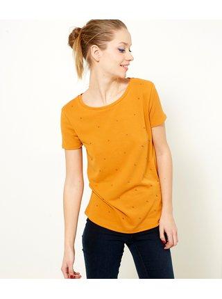 Oranžové tričko s korálky CAMAIEU