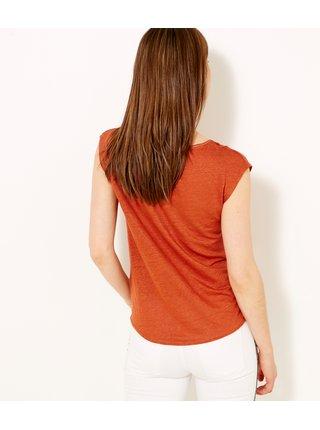 Cihlové lněné tričko CAMAIEU