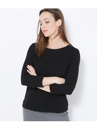 Černé vzorované tričko s 3/4 rukávem CAMAIEU