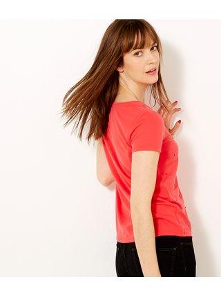 Červené tričko s korálky CAMAIEU