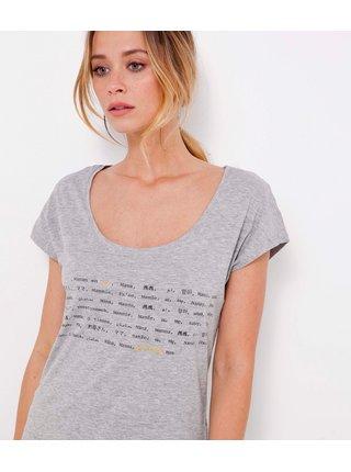Světle šedé tričko s nápisem CAMAIEU