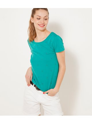 Tričká s krátkym rukávom pre ženy CAMAIEU - tyrkysová