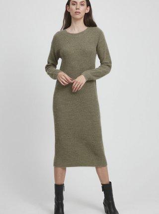 Kaki púzdrové svetrové šaty ICHI