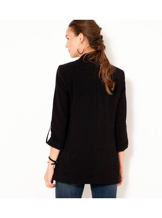 Černé sako s ohrnovacím rukávem CAMAIEU