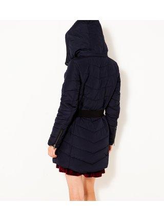 Tmavě modrá dlouhá prošívaná lehká bunda s kapucí CAMAIEU