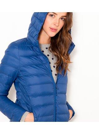 Modrá prošívaná lehká bunda s kapucí CAMAIEU