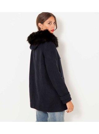 Tmavě modrá zimní bunda s kapucí a kožešinou CAMAIEU