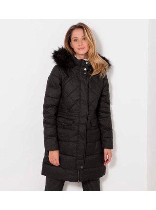 Černá dlouhá prošívaná zimní bunda s kapucí CAMAIEU