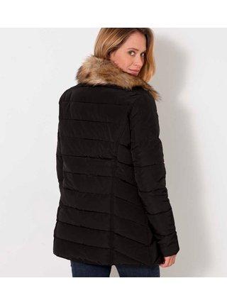 Čierna prešívaná zimná bunda s kožušinovým limcom CAMAIEU