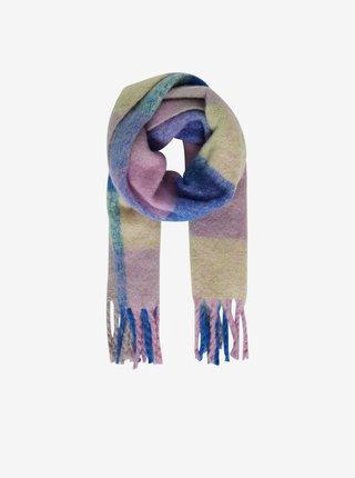Ružovo-modrý dámský kockovaný šál ICHI