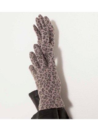 Šedé vlnené rukavice so zvieracím vzorom CAMAIEU
