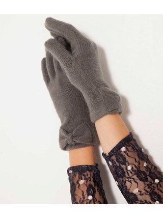 Tmavošedé rukavice s mašľou CAMAIEU