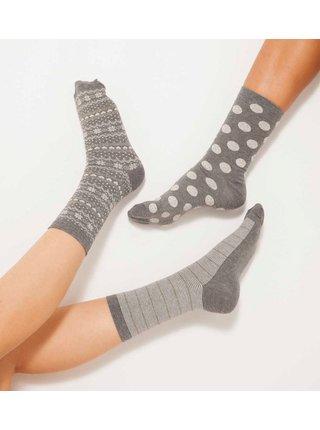 Sada tří párů šedých vzorovaných ponožek CAMAIEU