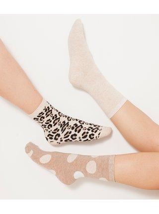 Sada troch párov béžových vzorovaných ponožiek CAMAIEU