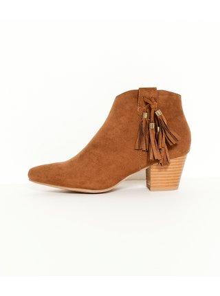 Hnedé členkové semišové topánky so strapcami CAMAIEU
