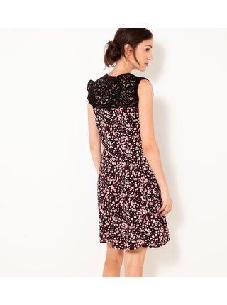 Ružovo-čierne kvetované šaty CAMAIEU