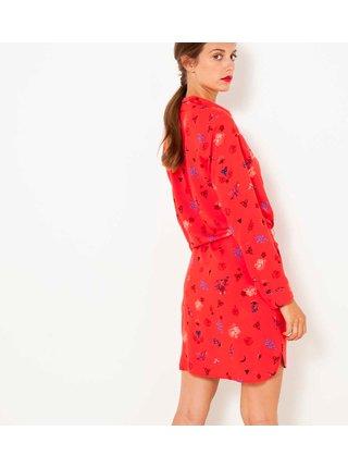 Červené vzorované košeľové šaty CAMAIEU