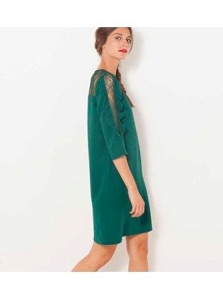 Tmavě zelené šaty s krajkou a 3/4 rukávem CAMAIEU