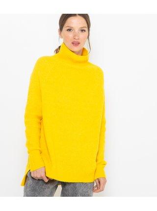 Žltý voľný rebrovaný sveter CAMAIEU