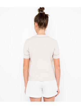 Světle růžové svetrové tričko s límečkem CAMAIEU